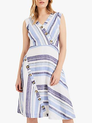 Phase Eight Carie Block Striped Linen Dress, Blue