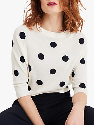 Phase Eight Shante Polka Dot Print Jumper, Cream