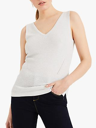 Phase Eight Knitted V-Neck Vest, Silver/Ivory
