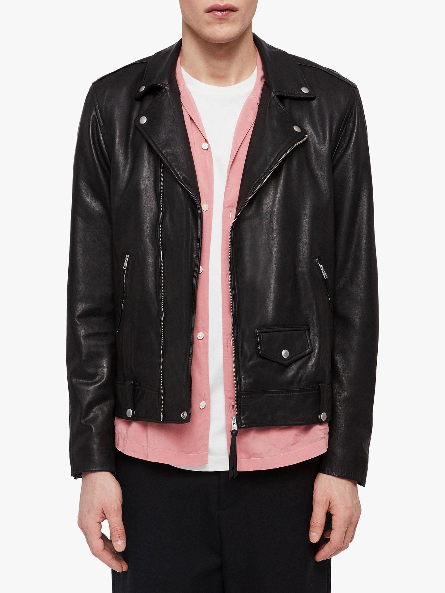2c3a2b7945f Buy AllSaints Ace Leather Biker Jacket, Black, L Online at johnlewis.com ...