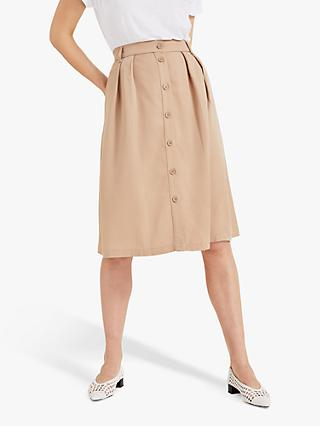Phase Eight Buttoned A-Line Skirt, Stone
