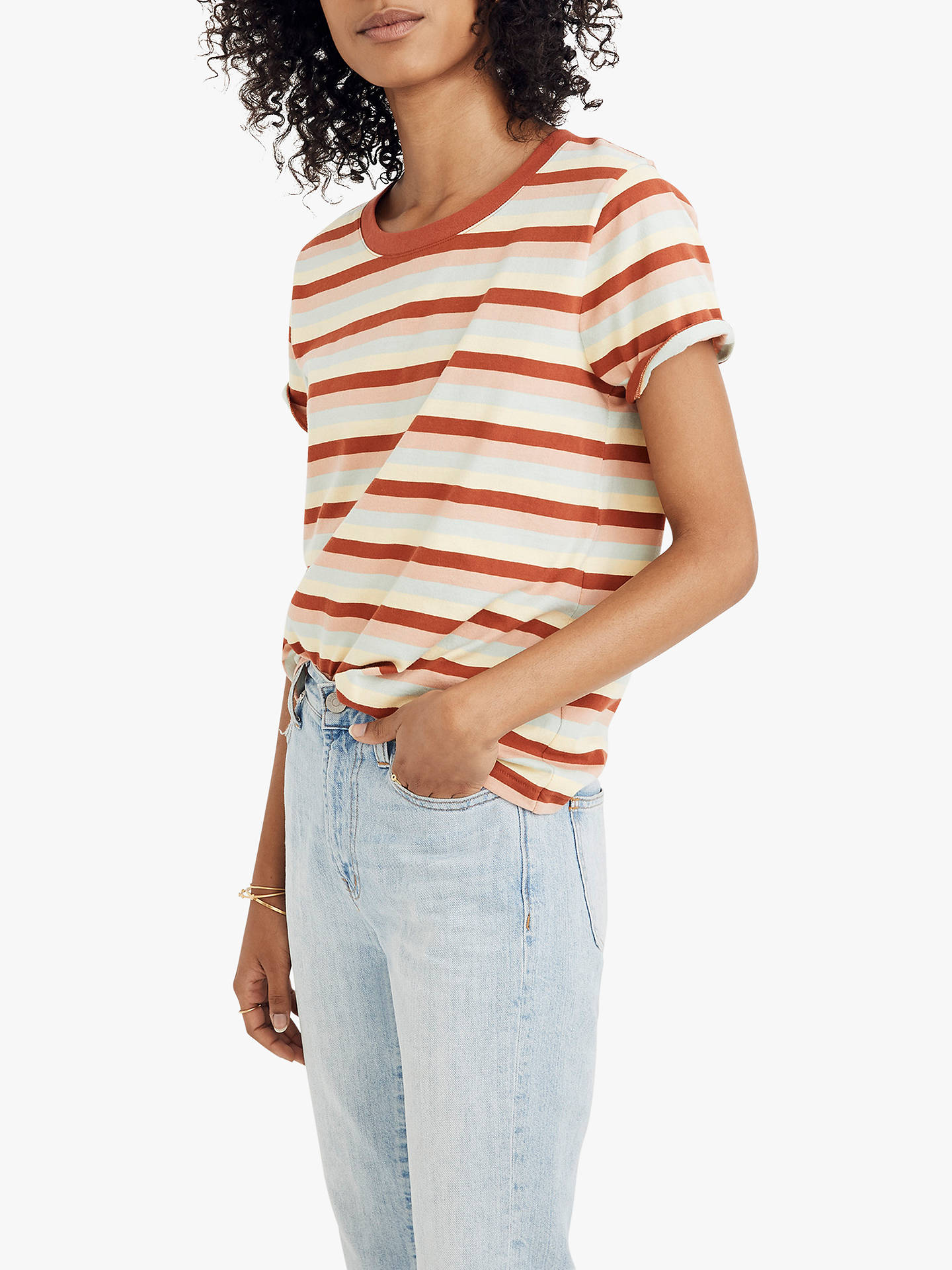 1fe8575e Buy Madewell Northside Vintage Stripe T-Shirt, Dark Cinnabar, XXS Online at  johnlewis ...