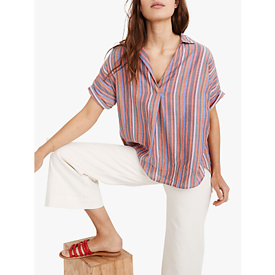 Madewell Curier Button Back Shirt, Mulled Wine Smith Stripe