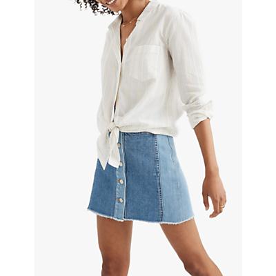 Madewell Tie Front Abbie Stripe Shirt, Pale Parchment
