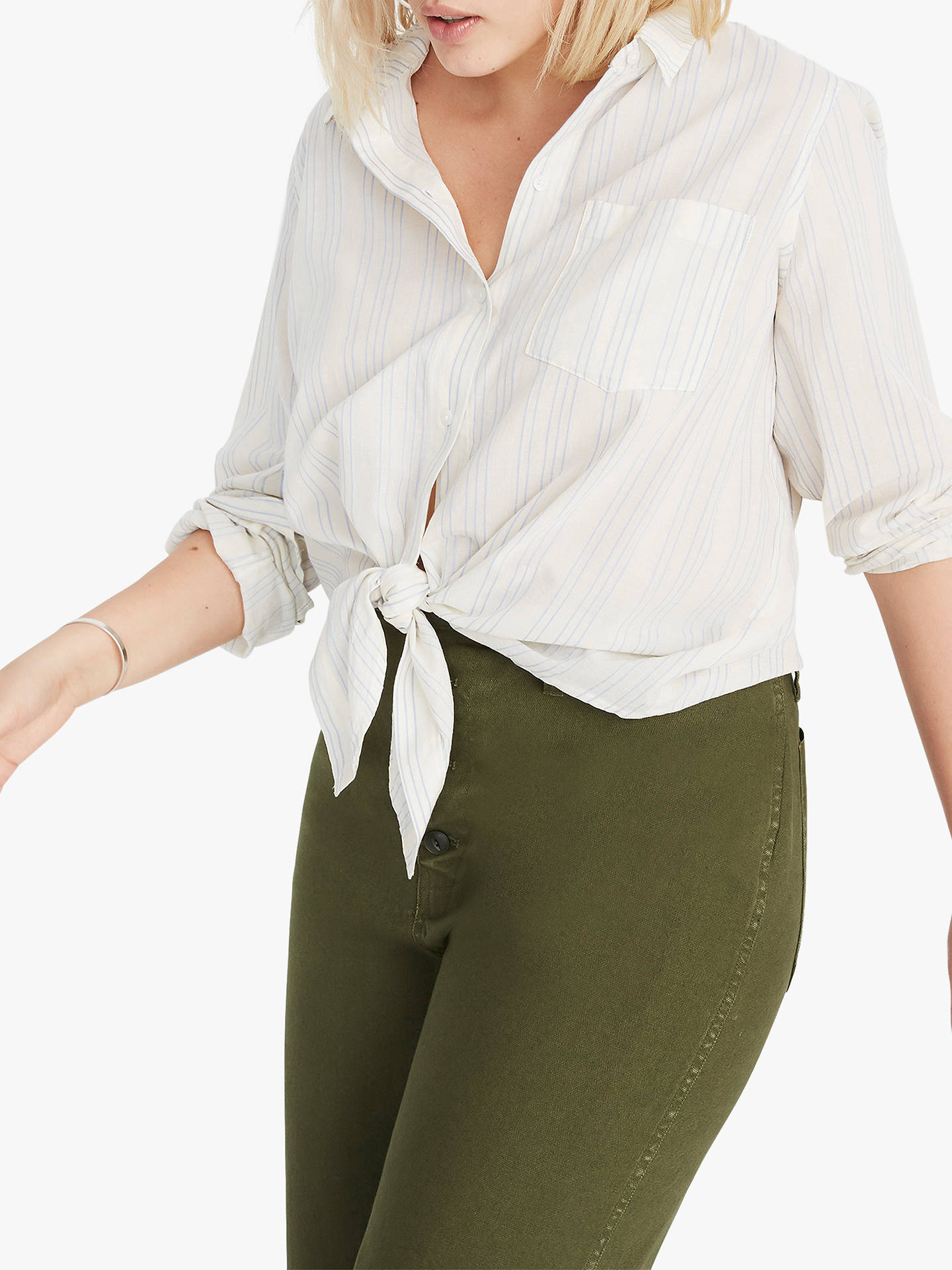 aabf46a059 Buy Madewell Tie Front Abbie Stripe Shirt, Pale Parchment, XXS Online at  johnlewis.