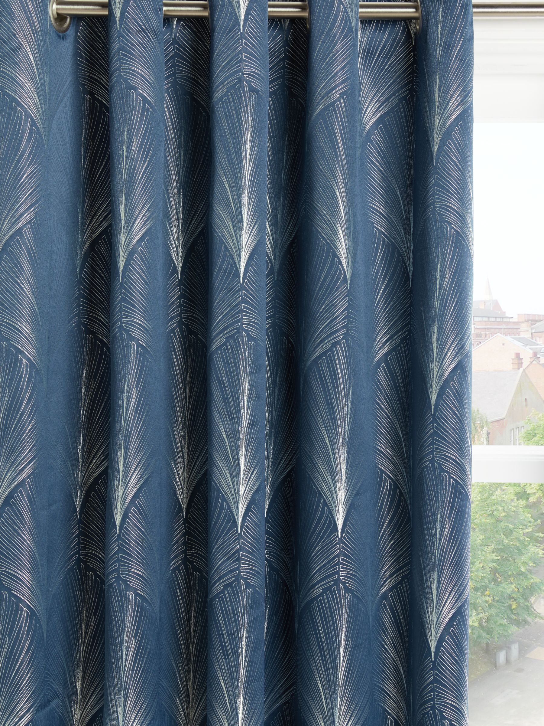 John Lewis & Partners Deco Fan Pair Lined Eyelet Curtains, Navy