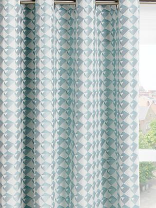 John Lewis & Partners Ida Pair Lined Eyelet Curtains, Blue/Grey