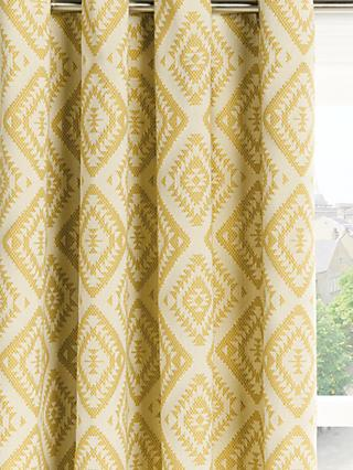 John Lewis & Partners Native Weave Pair Lined Eyelet Curtains, Saffron
