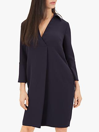 Jaeger Crepe Shift Dress, Dark Blue