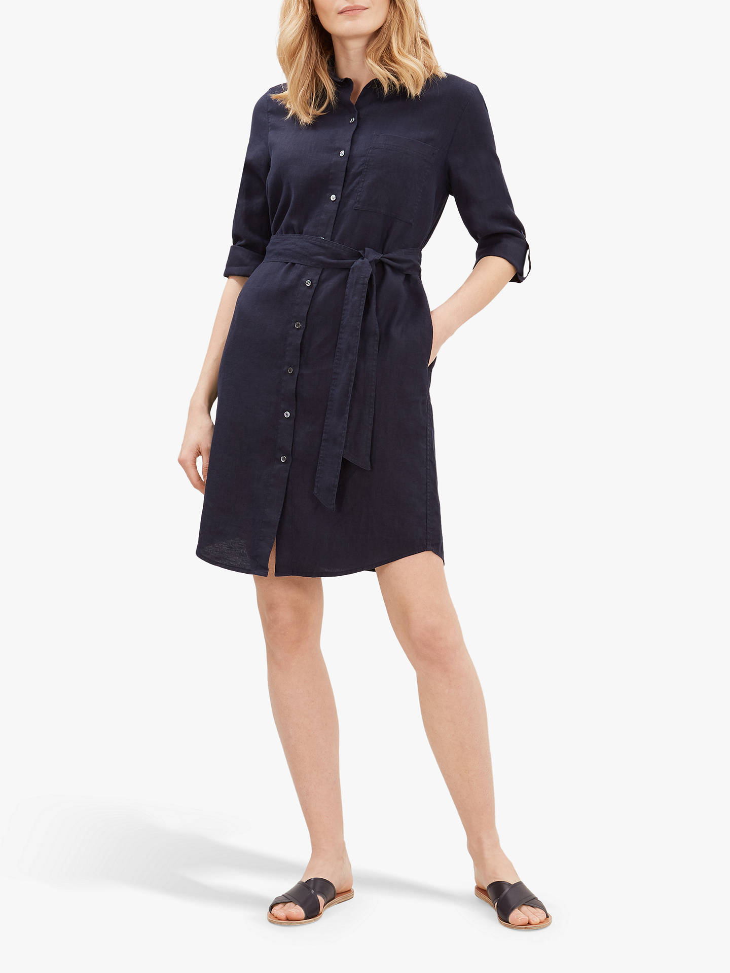 Buy Jaeger Linen Shirt Dress, Dark Blue, 16 Online at johnlewis.com