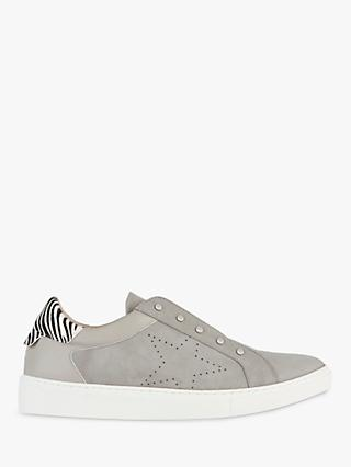 Mint Velvet Josie Star Detail Leather Trainers, Light Grey