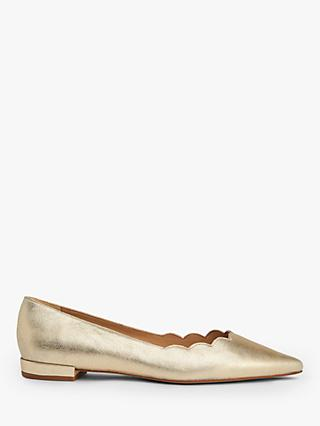 L.K.Bennett Justine Flat Court Shoes, Soft Gold Leather