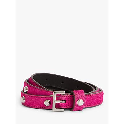 Image of AllSaints Aimee Studded Faux Fur Leather Belt, Fuschia Pink