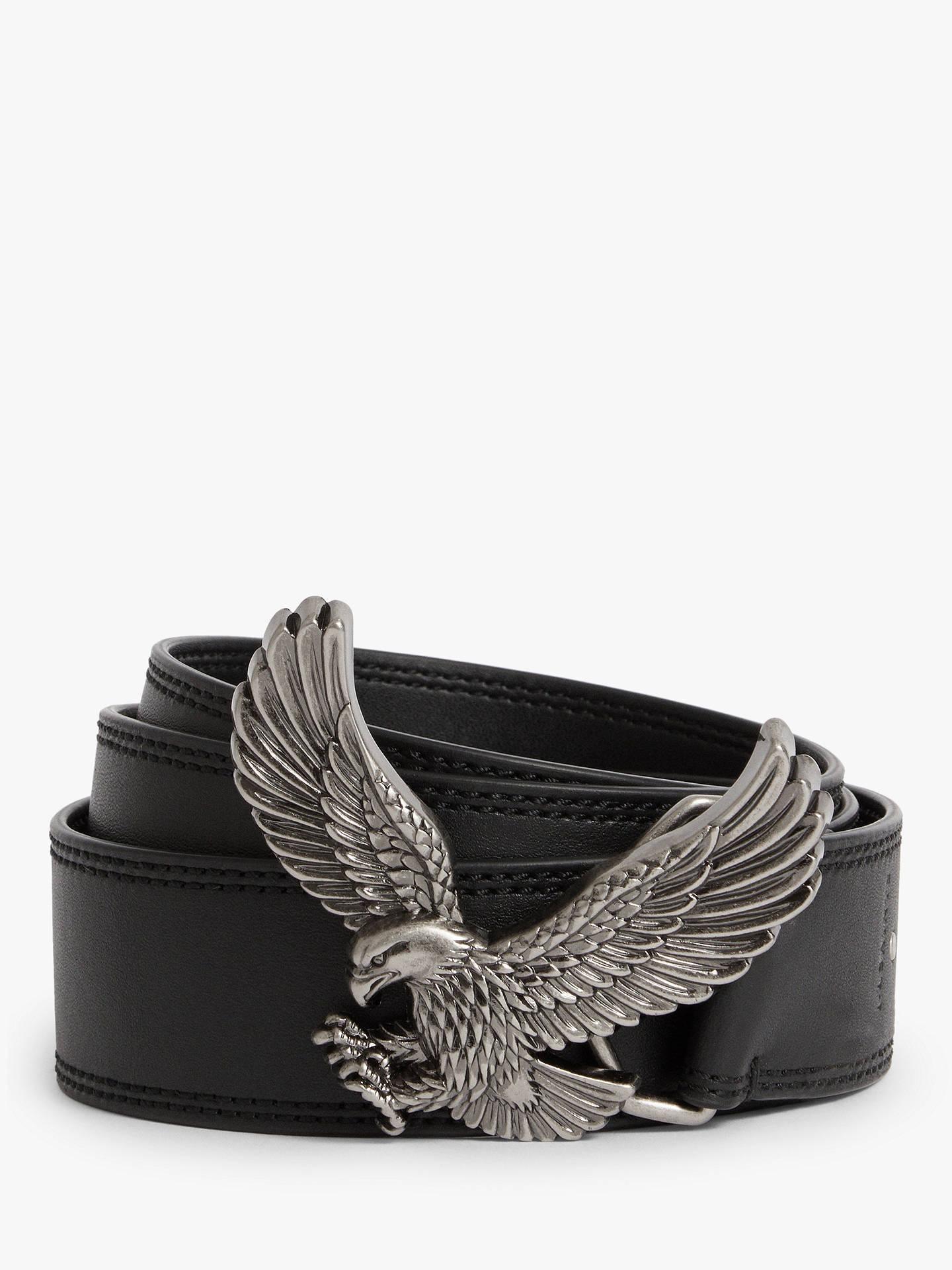 AllSaints Aquilo Eagle Buckle Leather Belt, Black at John