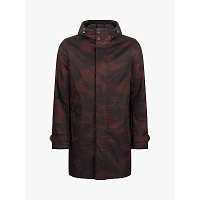 Ted Baker Manbo Printed Hooded Mac, Dark Red