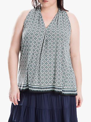 Max Studio + Sleeveless Geo Print Top, Blue/Mint