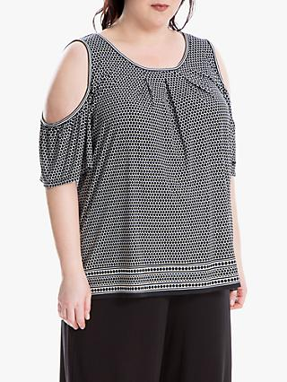 Max Studio + Spot Print Cold Shoulder Top, Black/Cream