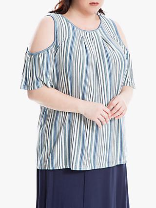 Max Studio + Stripe Cold Shoulder Top, Ocean/Multi