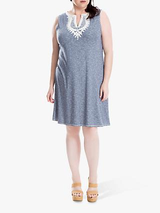 Max Studio + Sleeveless Contrast Neck Jersey Dress