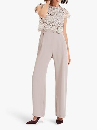 Phase Eight Katy Lace Jumpsuit, Latte/Cream