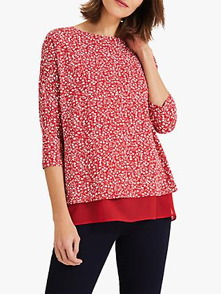 Phase Eight Hester Heart Top, Red/Ivory