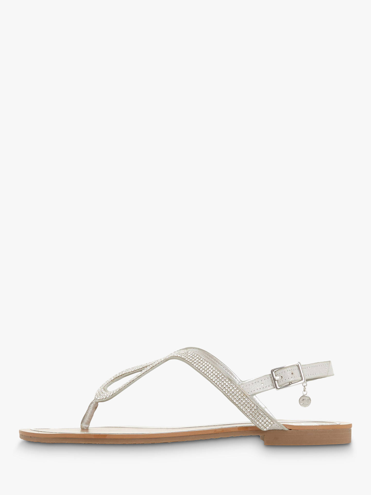 online store discount info for Dune Linay Diamante Flat Sandals, Silver Metallic at John ...