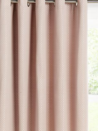 John Lewis & Partners Kolton Pair Lined Eyelet Curtains, Pink