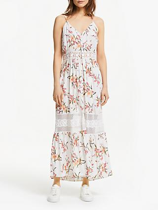 Y.A.S Yasfiala Floral Sheer Panel Maxi Dress, White/Multi