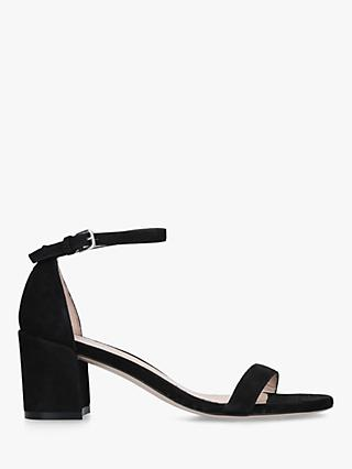 Stuart Weitzman Simple 60 Strappy Sandals, Black Suede