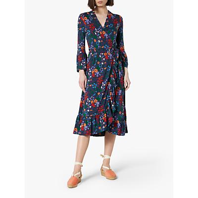 L.K.Bennett Vika Jersey Floral Wrap Dress, Blue/Multi