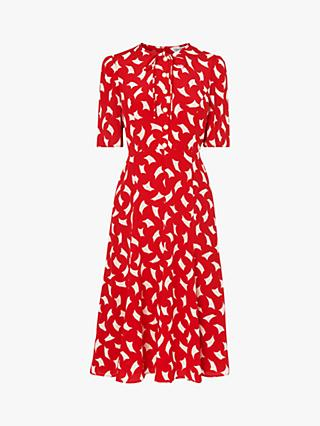 L.K.Bennett Montana Flippy Dress, Red/Multi