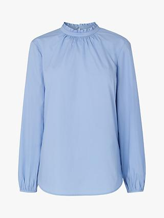 L.K.Bennett Elisha Pleated Neck Shirt, Blue Cornflower