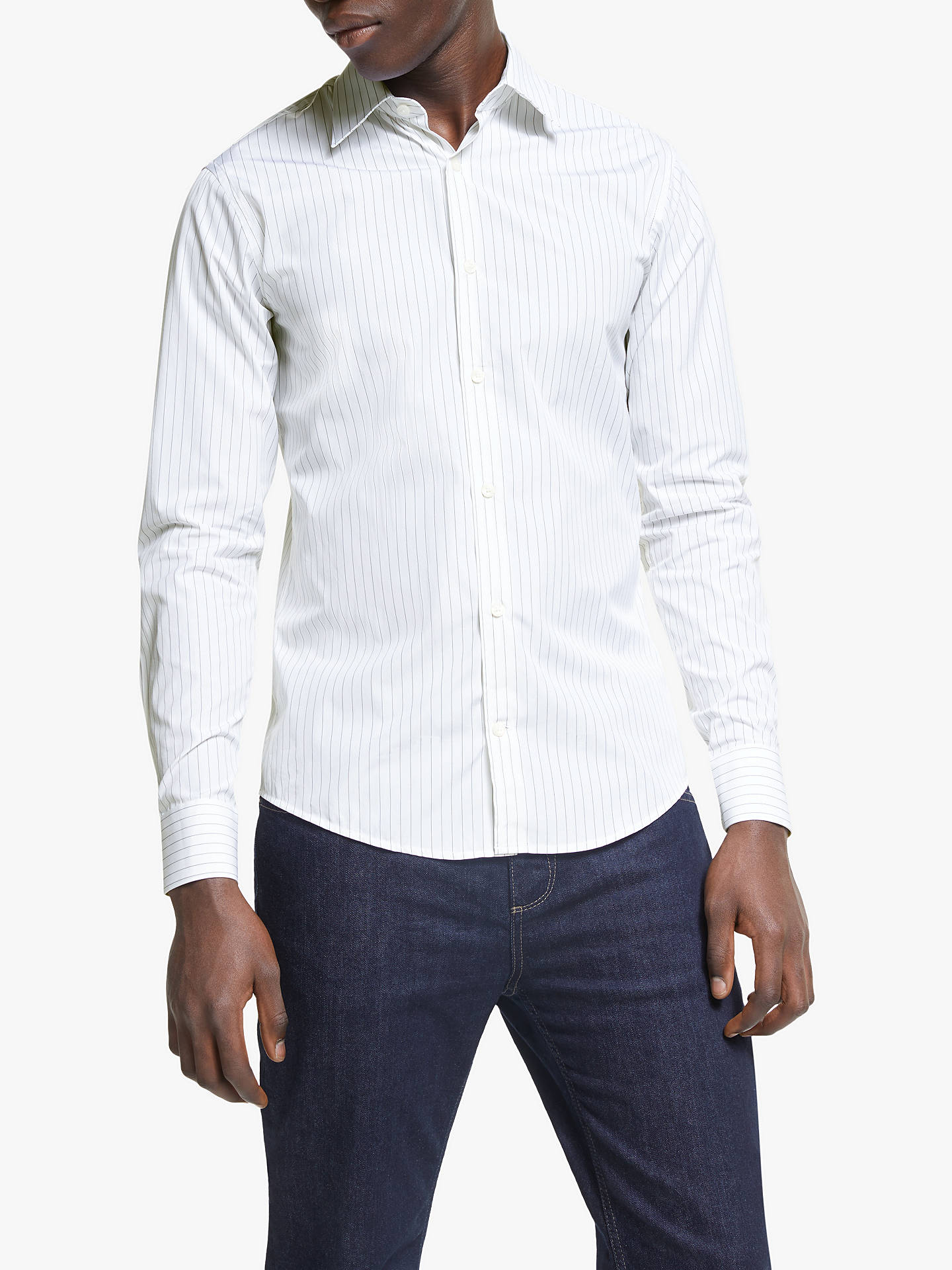 de4627dc493 Buy Tiger of Sweden Farrell Slim Fit Shirt, White/Black, 15 Online at ...