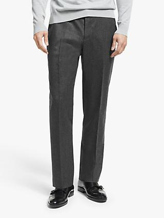 John Lewis & Partners Merino Flannel Drawstring Waistband Tailored Suit Trousers, Grey