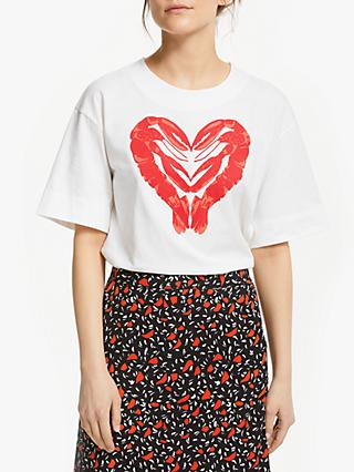 People Tree Organic Cotton Lobster Heart T-Shirt, White