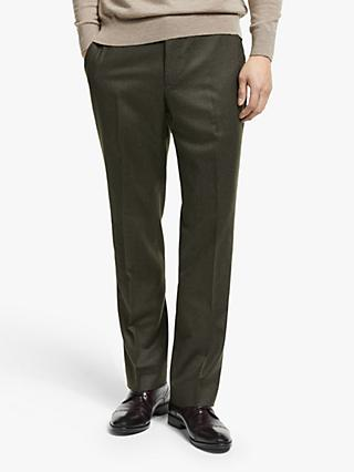 John Lewis & Partners Merino Flannel Tailored Suit Trousers, Brown