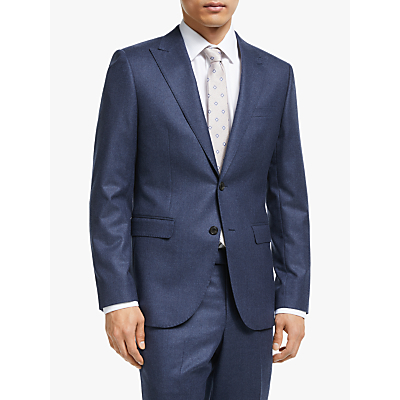 John Lewis & Partners Merino Flannel Tailored Suit Jacket, Blue