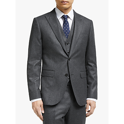 John Lewis & Partners Merino Flannel Tailored Suit Jacket, Grey