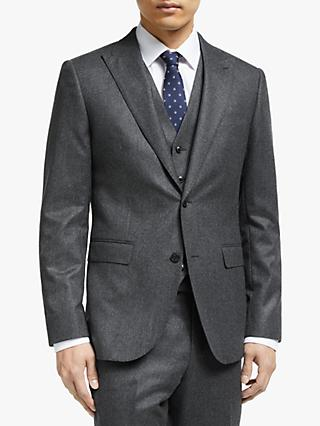 John Lewis & Partners Merino Flannel Tailored Suit Jacket, Grey
