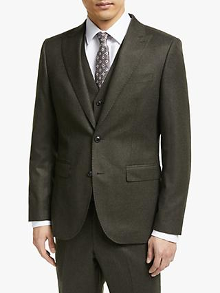 John Lewis & Partners Merino Flannel Tailored Suit Jacket, Brown
