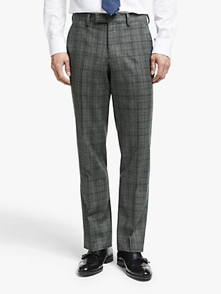 John Lewis & Partners Flannel Check Tailored Suit Trousers, Grey