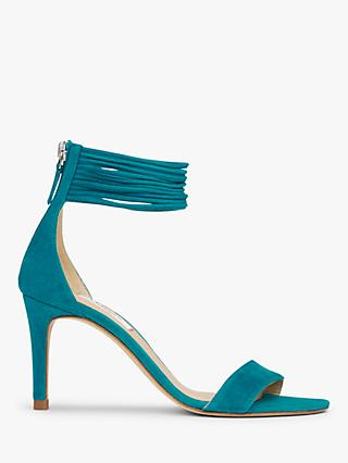 L.K.Bennett Tiffany Spaghetti Strap Stiletto Heel Sandals, Turquoise Leather