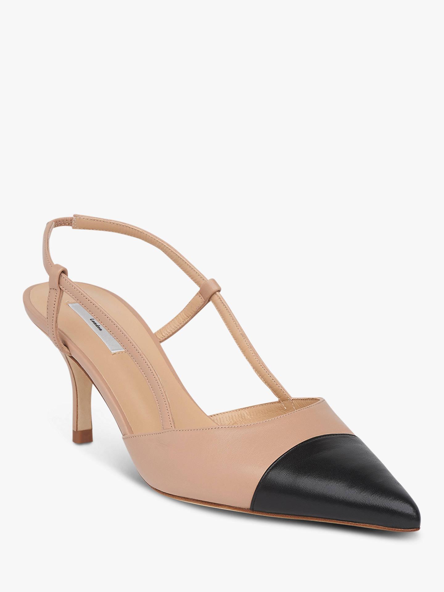Buy L.K.Bennett Hally Open Kitten Heel Court Shoes, Beige/Black Leather, 3 Online at johnlewis.com