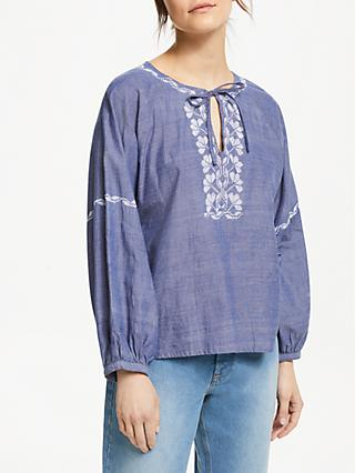 People Tree Serena Embroidered Blouse, Blue