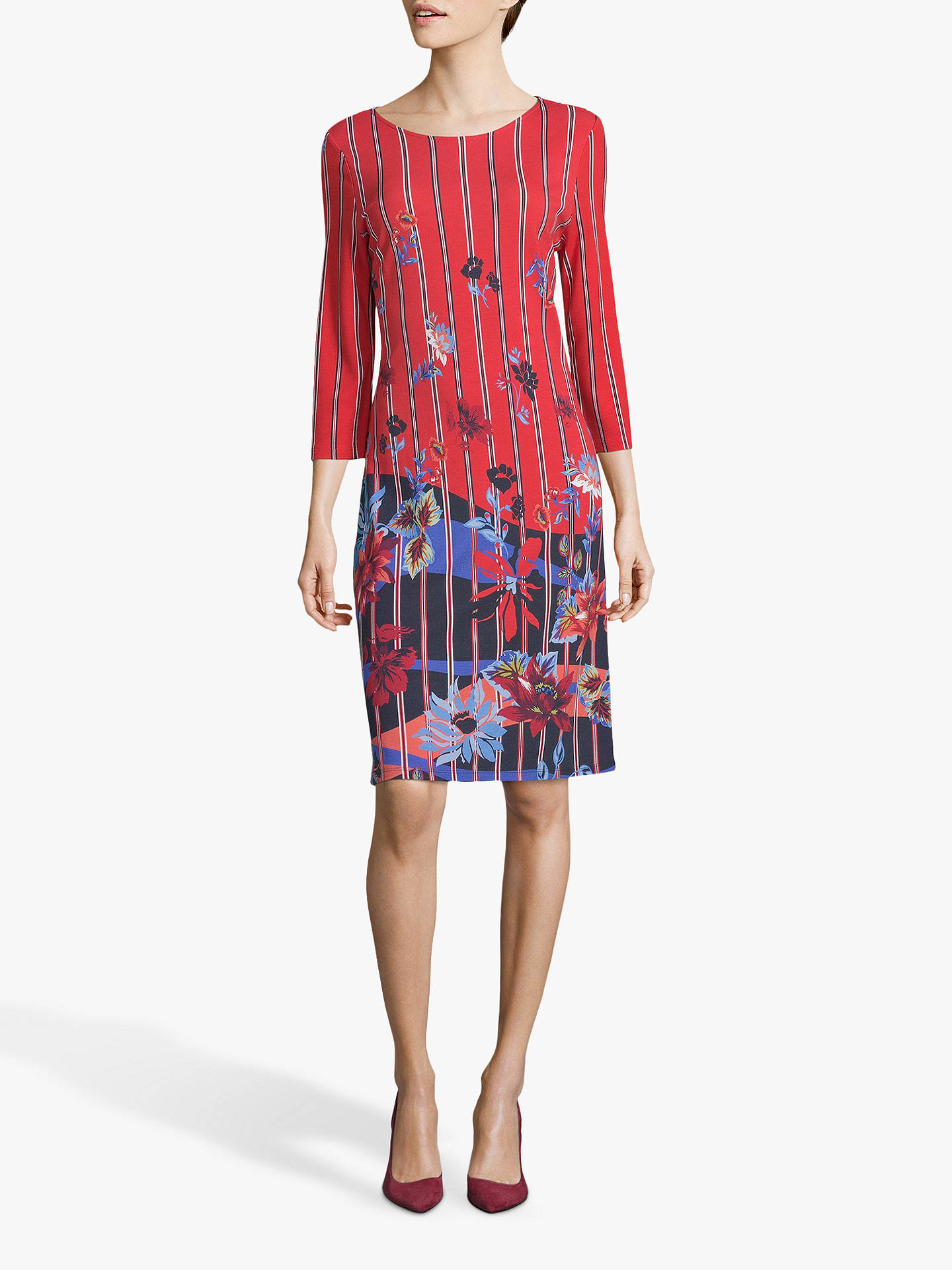11ae65c84ea Buy Betty Barclay Floral Jersey Dress, Red/Blue, 12 Online at johnlewis.