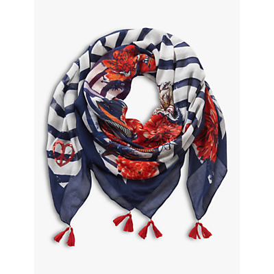 Image of Betty Barclay Floral Print Scarf, Dark Blue/White