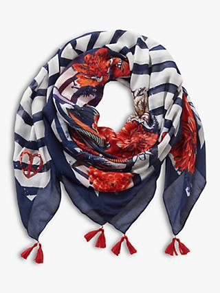 Betty Barclay Floral Print Scarf, Dark Blue/White