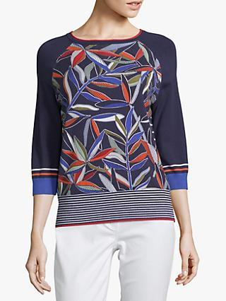 Betty Barclay Fern Print Jumper, Dark Blue