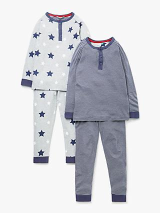 f147dc16aa John Lewis & Partners Boys' Stripe and Star Print Pyjamas, Pack of 2,