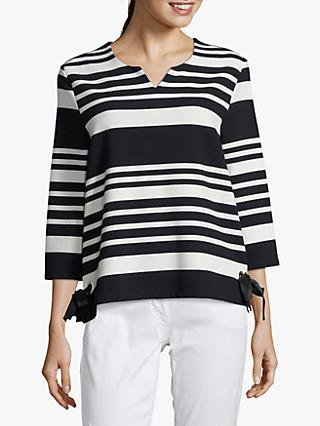 Betty Barclay Monochrome Striped V-Neck Sweater, Dark Blue/Cream